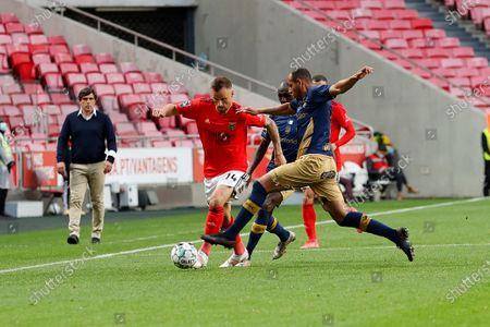 Haris Seferovic tries to escape during the Liga NOS match between Benfica and Santa Clara at Estadio da Luz, Lisbon