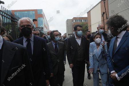 Attilio Fontana (C) and Matteo Salvini (R) and  Marco Tronchetti Provera (L) are seen at the Inauguration of the Coronavirus vaccine center at Hangar Bicocca in Milan, Italy, on April 26 2021
