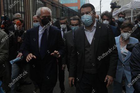 Matteo Salvini (R) and  Marco Tronchetti Provera (L) are seen at the Inauguration of the Coronavirus vaccine center at Hangar Bicocca in Milan, Italy, on April 26 2021