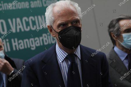 Pirelli's CEO Marco Tronchetti Provera attends inauguration of the Coronavirus vaccine center at Hangar Bicocca in Milan, Italy, on April 26 2021