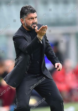 Napoli's head coach Gennaro Gattuso reacts during the Italian Serie A soccer match between Torino FC and SSC Napoli at the Olimpico Grande Torino stadium in Turin, Italy, 26 April 2021.