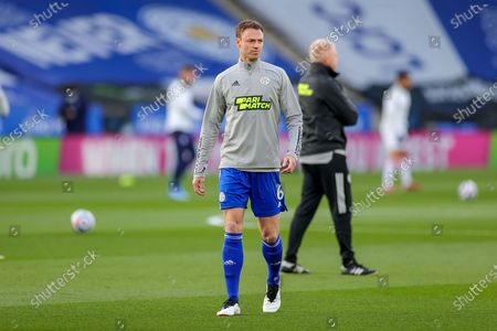 Leicester City defender Jonny Evans (6) warms up during the Premier League match between Leicester City and Crystal Palace at the King Power Stadium, Leicester