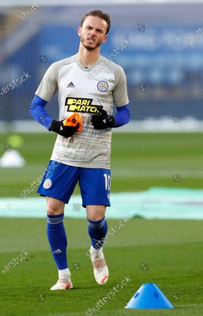 Leicester's James Maddison warms up prior to the English Premier League soccer match between Leicester City and Crystal Palace at the King Power Stadium in Leicester, England