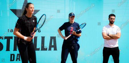 Olga Savchuk of Ukraine during practice with Karolina Pliskova ahead of the 2021 Mutua Madrid Open WTA 1000 tournament