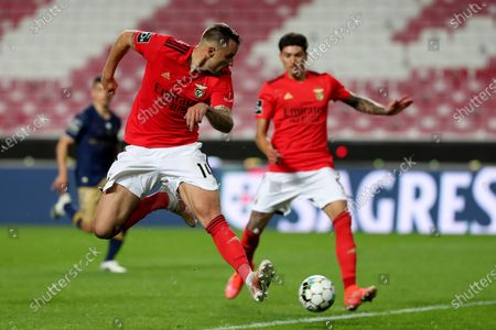 Haris Seferovic (L) and Darwin Nunez of SL Benfica in action during the Portuguese League football match between SL Benfica and CD Santa Clara at the Luz stadium in Lisbon, Portugal on April 26, 2021.