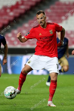 Haris Seferovic of SL Benfica in action during the Portuguese League football match between SL Benfica and CD Santa Clara at the Luz stadium in Lisbon, Portugal on April 26, 2021.