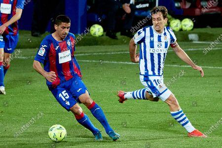 Mikel Oyarzabal of Real Sociedad and Jose Angel Valdes Cote of SD Eibar during the spanish league, LaLiga, football match played between SD Eibar v Real Sociedad at Ipurua on April 26, 2021 in Eibar, Spain.