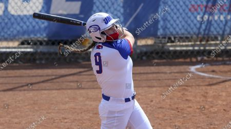 Stock Image of UMass-Lowell's Jennifer Lee (9) during an NCAA softball game against UMBC, in Lowell, Mass