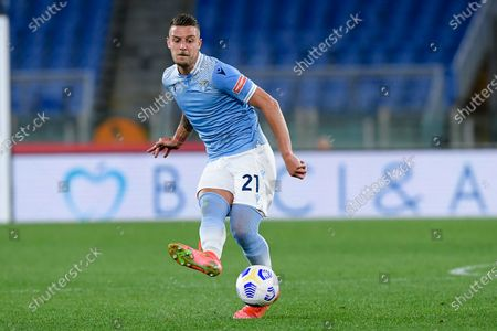 Sergej Milinkovic-Savic of SS Lazio during the Serie A match between SS Lazio and AC Milan at Stadio Olimpico, Rome, Italy on 26 April 2021.