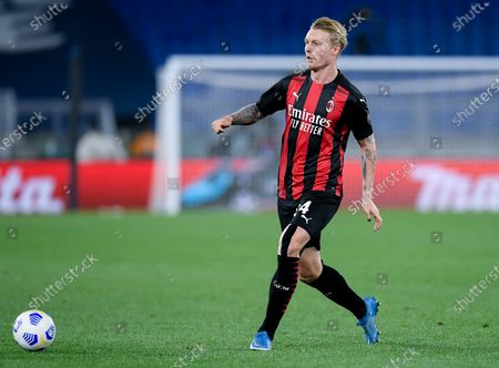 Simon Kjaer of AC Milan during the Serie A match between SS Lazio and AC Milan at Stadio Olimpico, Rome, Italy on 26 April 2021.