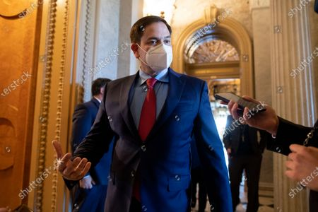 Republican Senator from Florida Marco Rubio speaks with a member of the news media as he prepares to vote during a Senate vote on Capitol Hill in Washington, DC, USA, 26 April 2021. The Senate will continue work this week on nominations and US President Joe Biden's infrastructure plan.