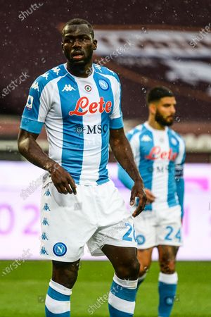 Kalidou Koulibaly of SSC Napoli during the Serie A football match between Torino FC and SSC Napoli. Sporting stadiums around Italy remain under strict restrictions due to the Coronavirus Pandemic as Government social distancing laws prohibit fans inside venues resulting in games being played behind closed doors.