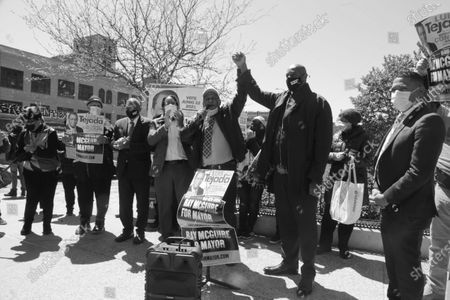 New York City Mayoral Candidate Ray McGuire campaigns in Harlem and receives the endorsement of Community Activist and City Council Candidate Luis Tejada in the Harlem section of New York City on April 26, 2021