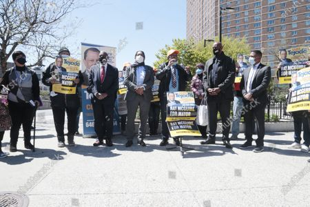Stock Photo of New York City Mayoral Candidate Ray McGuire campaigns in Harlem and receives the endorsement of Community Activist and City Council Candidate Luis Tejada in the Harlem section of New York City on April 26, 2021