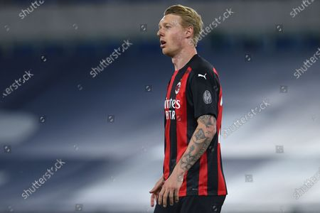 Simon Kjaer of Milan during the Italian Serie A soccer match SS Lazio v AC Milan in the Olympic stadium in Rome, Italy, 26 April 2021.