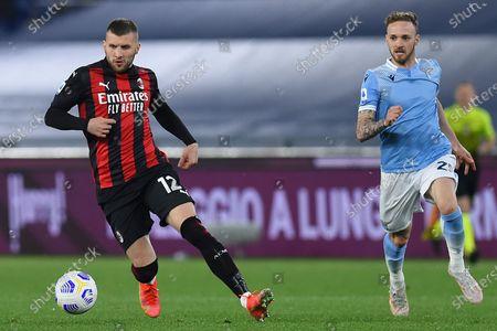 Ante Rebic of Milan during the Italian Serie A soccer match SS Lazio v AC Milan in the Olympic stadium in Rome, Italy, 26 April 2021.