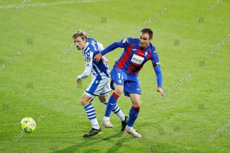 "(L-R) Nacho Monreal (Sociedad), Kike Garcia (Eibar) - Football / Soccer : Spanish ""La Liga Santander"" match between SD Eibar 0-1 Real Sociedad at the Estadio Municipal de Ipurua in Eibar, Spain."