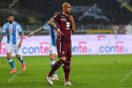 Simone Zaza of Torino FC during the Serie A football match between Torino FC and SSC Napoli at Olympic Grande Torino Stadium on April 26, 2021 in Turin, Italy.