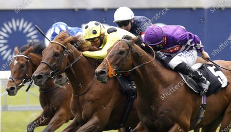 Oh This Is Us and Tom Marquand (purple) winning The Charlie Waller Trust Paradise Stakes from Prince Eiji (yellow)Ascot 28.4.2021Pic Dan Abraham