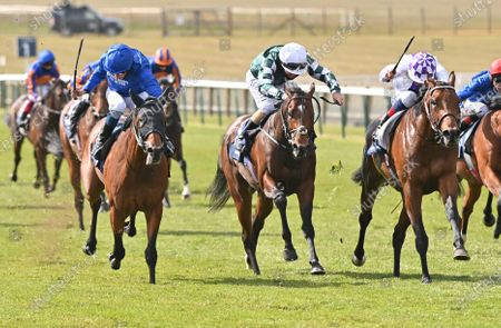 (R) Poetic Flare (Kevin Manning) wins The Qipco 2000 Guineas Stakes from (L) Master Of The Seas (William Buick). 