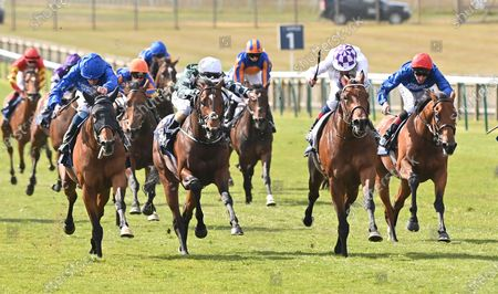 (2nd R) Poetic Flare (Kevin Manning) wins The Qipco 2000 Guineas Stakes from (L) Master Of The Seas (William Buick). 