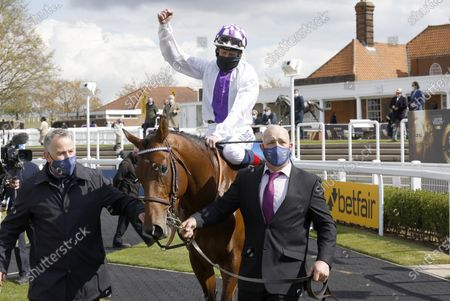 Stock Image of Poetic Flare and Kevin Manning after winning The Qipco 2000 Guineas Stakes