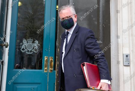 Michael Gove, Minister for the Cabinet Office, Chancellor of the Duchy of Lancaster, arrives at the Cabinet office. Michael Gove has given support for the Prime Minister regarding the financing of his Downing Street flat and he denies hearing the Prime Minister saying 'Let the bodies pile High' rather than having a third lockdown.