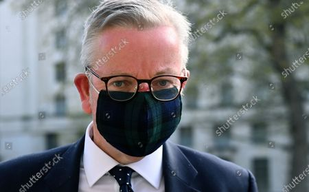 Minister for the Cabinet Office, Michael Gove arrives at the Cabinet Office in London, Britain, 27 April 2021. British Prime Minister Boris Johnson is facing a barrage of sleaze allegations regarding the financing of his Downing Street flat, while also denying claims that he said, 'he would rather let bodies pile high', than impose a third lockdown on the nation.