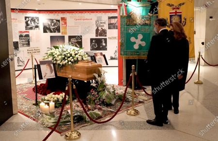 Milva' daughter Martina Corgnati (R) and Milan Mayor Giuseppe Sala, pay tribute to Italian singer Milva's coffin at a funeral home inside the Strehler Theater in Milan, Italy, 27 April 2021. Milva has died at the age of 81, her family announced on 24 April 2021.