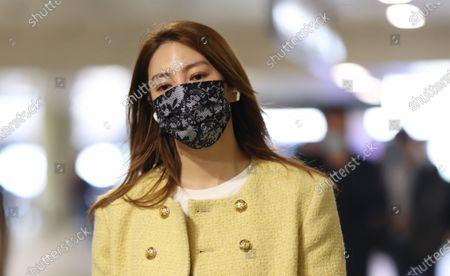 Editorial image of Zhang Yuqi at the airport, Shanghai, China - 27 Apr 2021