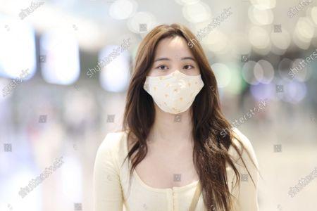 Editorial image of Ouyang Nana at the airport, Shanghai, China - 26 Apr 2021