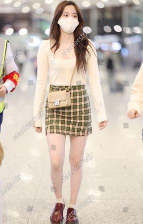Editorial photo of Ouyang Nana at the airport, Shanghai, China - 26 Apr 2021