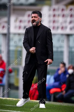 Napoli coach Gennaro Gattuso gestures during the Serie A football match n.33 TORINO - NAPOLI on April 26, 2021 at the Stadio Olimpico Grande Torino in Turin, Piedmont, Italy. Final result: Torino-Napoli 0-2. Sporting stadiums around Italy remain under strict restrictions due to the Coronavirus Pandemic as Government social distancing laws prohibit fans inside venues resulting in games being played behind closed doors.