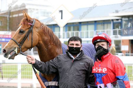 LA LUNE (6) ridden by David Probert and trained by Henry Candy in the Winners Enclosure after winning The Listed British EBF Supporting Racing To School Nottinghamshire Oaks Stakes (Fillies & Mares) over 1m 2f during the meeting at Nottingham Racecourse, Nottingham