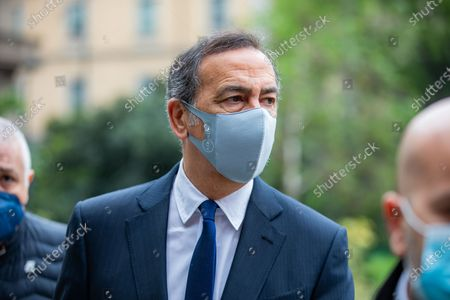 Stock Image of Giuseppe Sala is seen at the funeral Home Of Milva at Piccolo Teatro Strehler on April 27, 2021 in Milan, Italy.