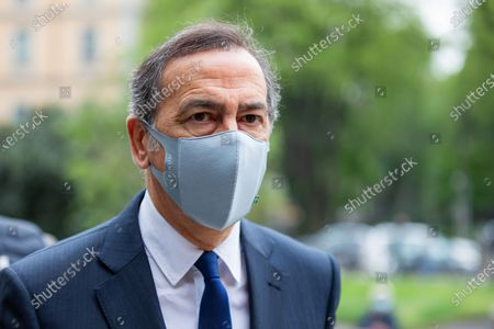 Giuseppe Sala is seen at the funeral Home Of Milva at Piccolo Teatro Strehler on April 27, 2021 in Milan, Italy.