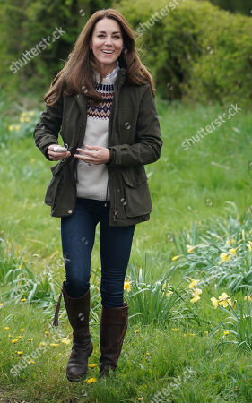 Catherine Duchess of Cambridge during a royal visit to Manor Farm in Little Stainton, Durham.