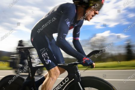 Geraint Thomas from Britain of team Ineos Grenadiers in action during the prologue, a 4,05 km race against the clock at the 74th Tour de Romandie UCI ProTour cycling race in Oron-la-Ville, Switzerland, 27 April 2021.