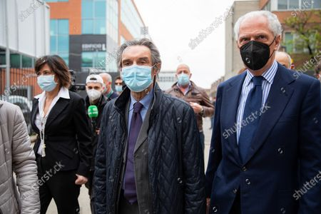 Pirelli's CEO Marco Tronchetti Provera (R) and Governor of Lombardy Attilio Fontana (C) attend the inauguration of the new Covid-19 Vaccination Hub at Pirelli Hangar Bicocca on April 26, 2021 in Milan, Italy.