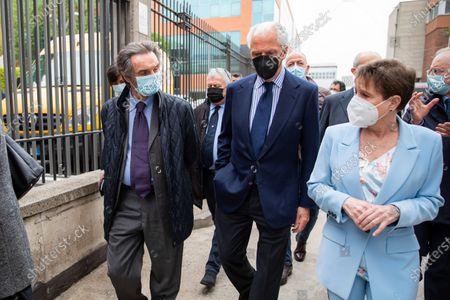 Pirelli's CEO Marco Tronchetti Provera (C) and Governor of Lombardy Attilio Fontana (L) attend the inauguration of the new Covid-19 Vaccination Hub at Pirelli Hangar Bicocca on April 26, 2021 in Milan, Italy.