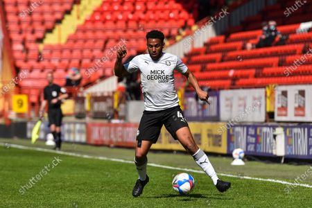 Nathan Thompson of Peterborough in action during the Sky Bet League 1 match between Charlton Athletic and Peterborough at The Valley, London, England on 24th April 2021.