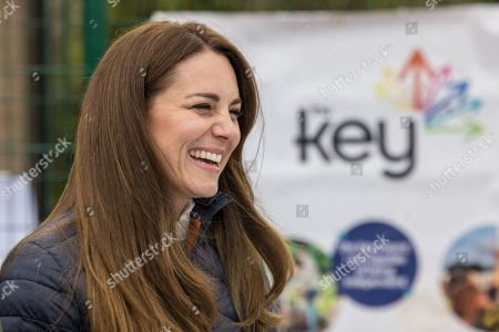 Catherine Duchess of Cambridge meets young people supported by the Cheesy Waffles Project, a charity for children, young people and adults with additional needs across County Durham, at the Belmont Community Centre.  The Duke and Duchess heard about the support given to the CWP by The Key, which was one of the charities chosen by Their Royal Highnesses in 2011 to benefit from donations made to their Royal Wedding Charitable Gift Fund.