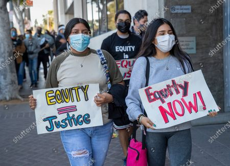 Editorial image of LAUSD Students and parents from communities hardest hit by the pandemic demand an equitable recovery, Lausd Headquarters, Los Angeles, California, United States - 26 Apr 2021