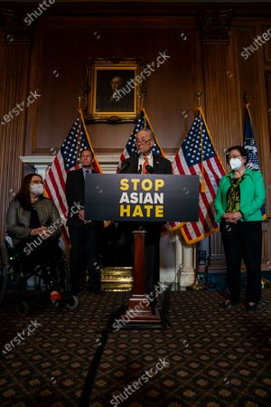 Senate Majority Leader Chuck Schumer (D-NY), flanked by (L-R) Sen. Tammy Duckworth (D-IL), Sen. Richard Blumenthal, (D-CT) and Sen. Mazie Hirono (D-HI), speaks during a news conference about the passage of S. 937, Covid-19 Hate Crimes Act on Capitol Hill on Thursday, April 22, 2021 in Washington, DC. The Bill passed, amended by a vote of 94-1, with Sen. Josh Hawley was the lone vote against. (Kent Nishimura / Los Angeles Times)