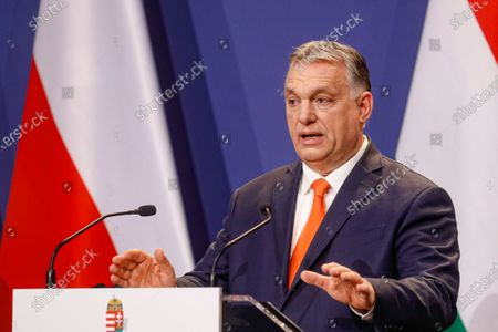 Hungarian prime minister Viktor Orban speaks during a press conference in Budapest, Hungary. Hungary's parliament on Tuesday, April 27 voted to transfer state assets worth billions of dollars into foundations that will control many of the country's public universities and cultural institutions. Opposition figures have decried the move as a theft of public funds, and the latest step in what critics call a takeover of Hungary's higher education system by Prime Minister Viktor Orban
