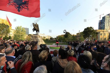 Albania's Prime Minister Edi Rama speaks to his supporters during a rally in Tirana, Albania, . Albania's left-wing Socialist Party has secured a third consecutive mandate in a parliamentary election, winning a majority of seats in parliament, Prime Minister Edi Rama said on Tuesday
