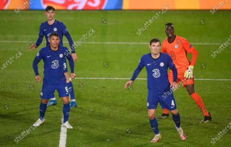 Kai Havertz, Thiago Silva, Andreas Christensen and Goalkeeper Edouard Mendy of Chelsea