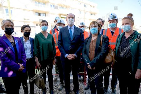 Editorial photo of Jean Castex visits a Tramway construction site, Angers, France - 27 Apr 2021