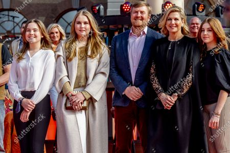 Royal Couple King Willem-Alexander and Queen Maxima and Princess Ariane Alexia and Amalia provide a stage for The Streamers' online concert on King's Day The Streamers consist of Guus Meeuwis, Rolf Sanchez, Kraantje Pappie, Suzan & Freek, VanVelzen, Davina Michelle, Paul de Munnik, Typhoon, Thomas Acda, Diggy Dex, Nick & Simon, Maan, Danny Vera, Miss Montreal and Paul de Leeuw. Band manager Frank Lammers is also present.