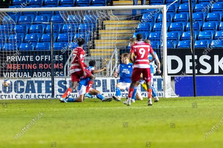 Stock Image of GOAL 2-2 Doncaster midfielder Taylor Richards (17) equalises during the EFL Sky Bet League 1 match between Peterborough United and Doncaster Rovers at London Road, Peterborough